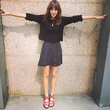 Alexa Chung showed off her wingspan wearing a cropped sweater and polka-dot skirt. Source: Instagram user chungalexa