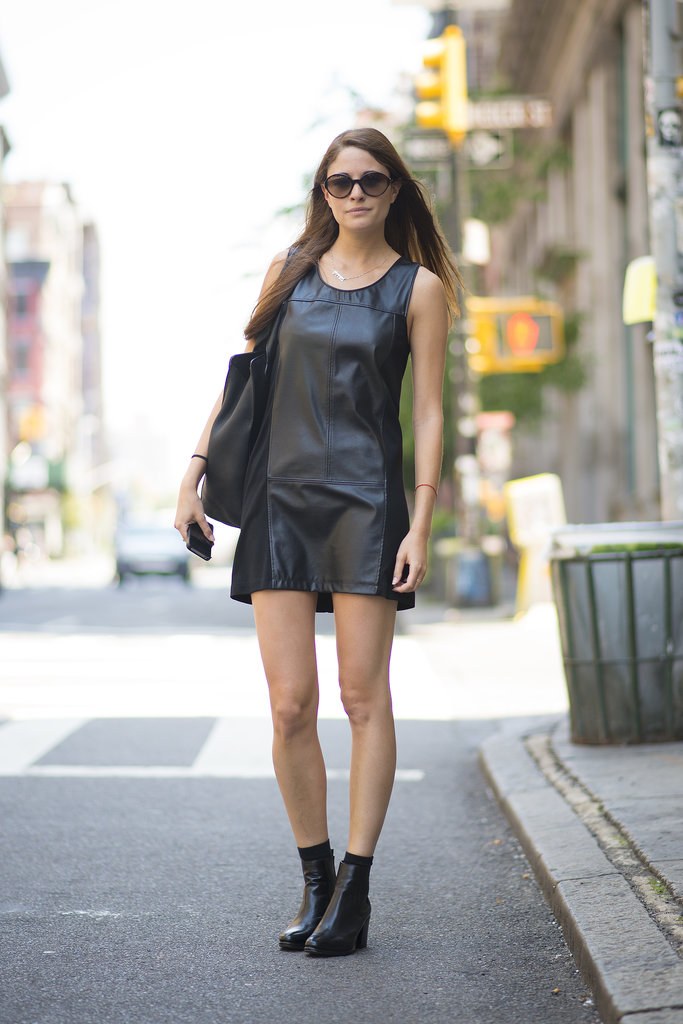 There's nothing wrong with keeping it simple, when simple is a minimalist leather dress and boots.  Source: Le 21ème | Adam Katz Sinding