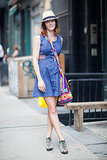 Do the denim dress with a few bright add-ons. Source: Le 21ème | Adam Katz Sinding