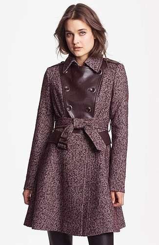 Via Spiga Double Breasted Tweed & Faux Leather Coat (Online Only) 14