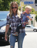 Hilary Duff toted her son, Luca, during a day out in Hollywood on Friday.