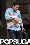 Jimmy Fallon stepped out with his newborn daughter, Winnie, in NYC on Thursday.
