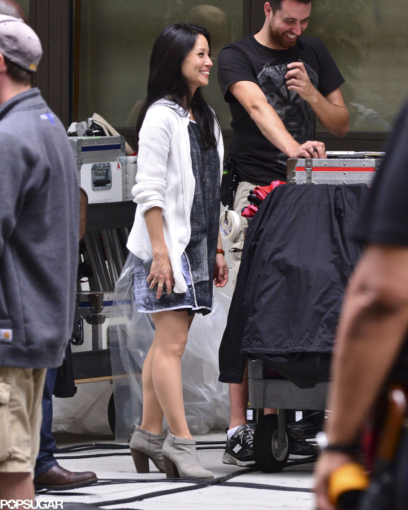 Lucy Liu was all smiles while filming scenes for Elementary in NYC on Monday.