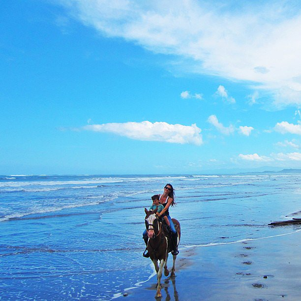 Gisele Bündchen enjoyed some seaside horseback riding with her son Benjamin.  Source: Instagram user giseleofficial
