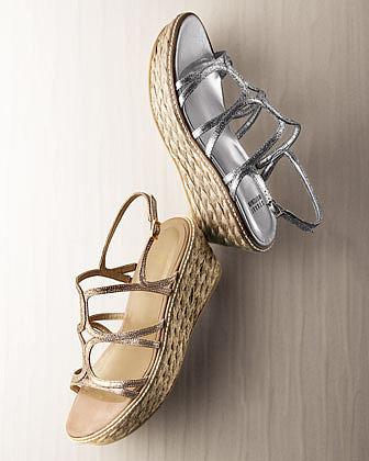 Stuart Weitzman Foursome Glitter Strappy Wedge Sandal