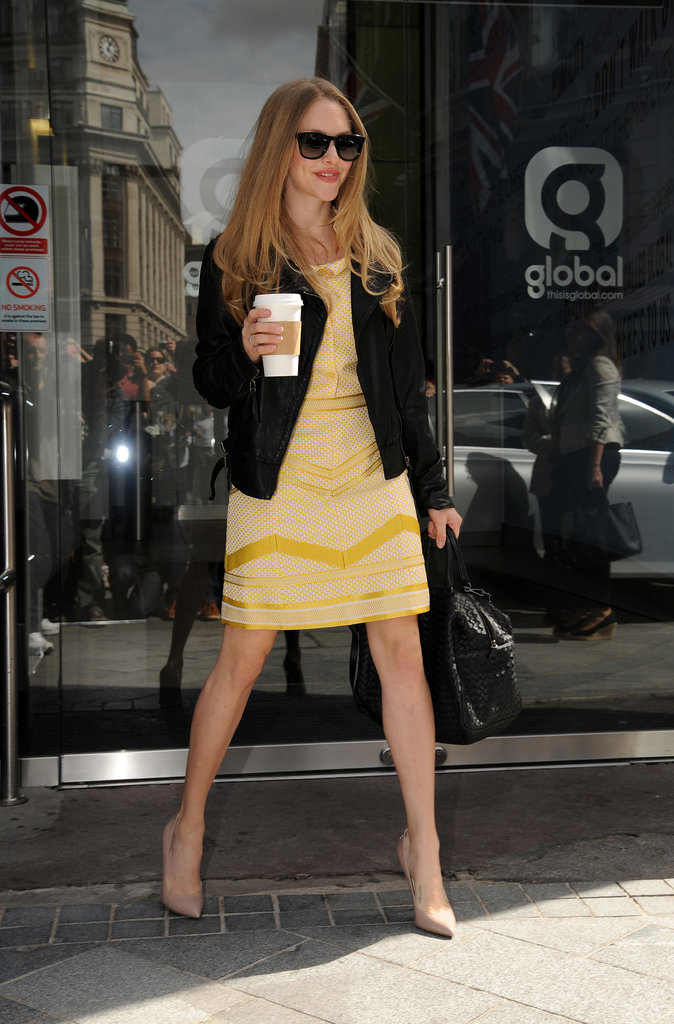 Amanda Seyfried carried a coffee on her way to a radio appearance in London.