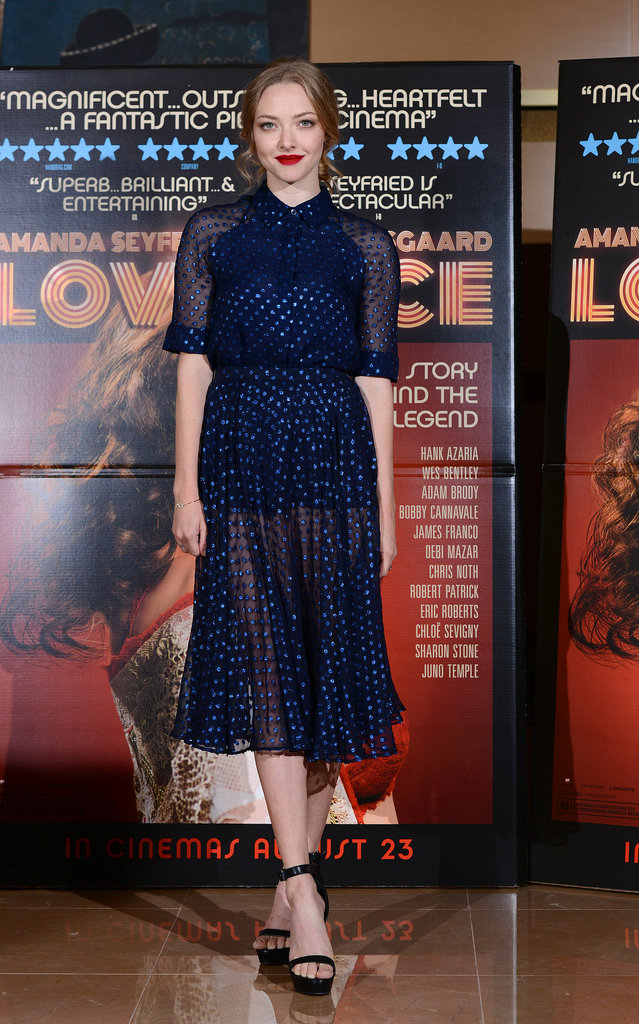 Ladylike with a twist — Amanda showed off a pretty dress with a semisheer finish at the Lovelace screening in London.