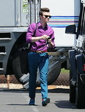 Chris Colfer got back to work on season five of Glee in LA.