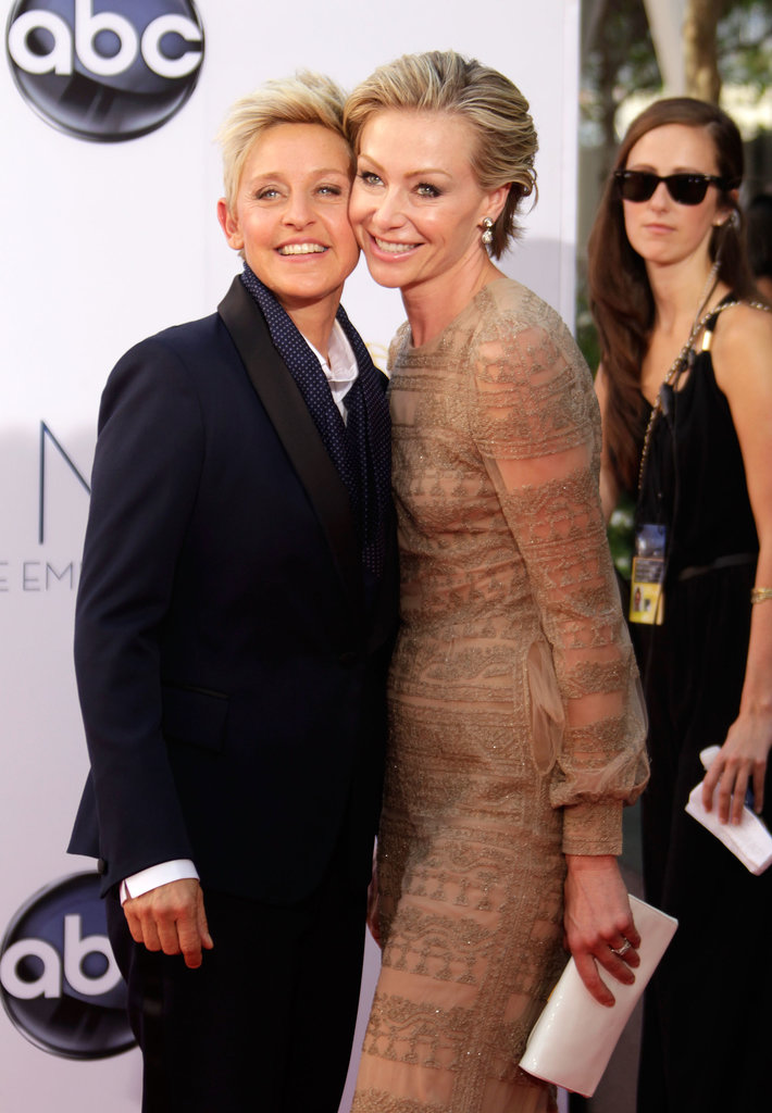 Portia de Rossi and Ellen DeGeneres shared a cuddle at the Emmy Awards in September 2012.