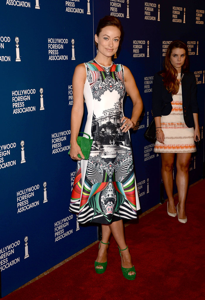 Olivia Wilde wore a printed Clover Canyon dress for the HFPA Luncheon.