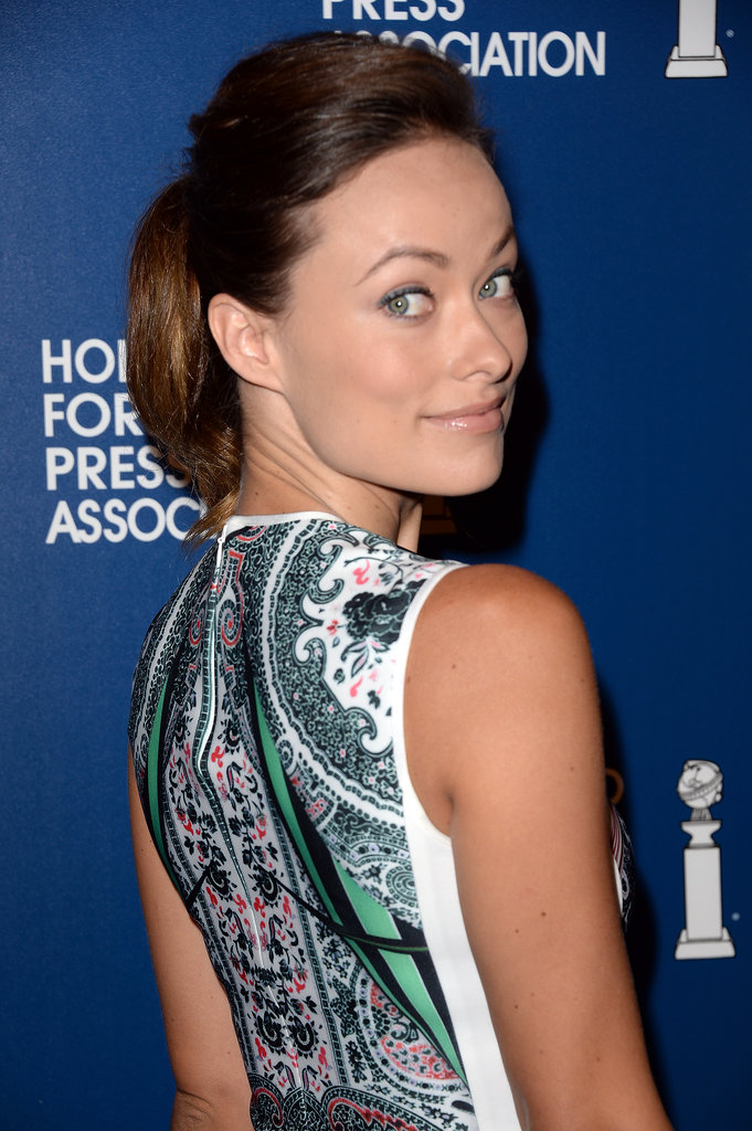 Olivia Wilde went with the classic pompadour and ponytail combination, pairing the classic style with a hint of blue eyeliner.