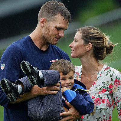 Tom Brady and Gisele Bundchen at Patriots Practice