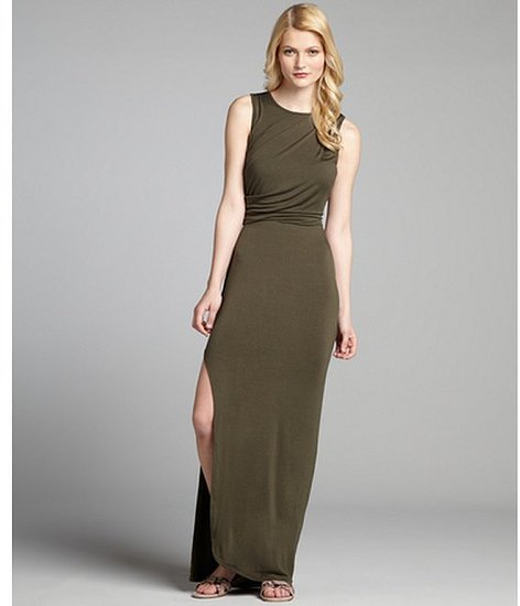 Wyatt olive jersey draped side slit maxi dress