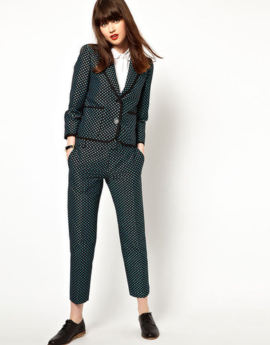 Boutique By Jaeger Slim Leg Pants In Polka Dot