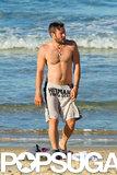 In August, a shirtless Joel Edgerton hit up Bondi Beach in Sydney.