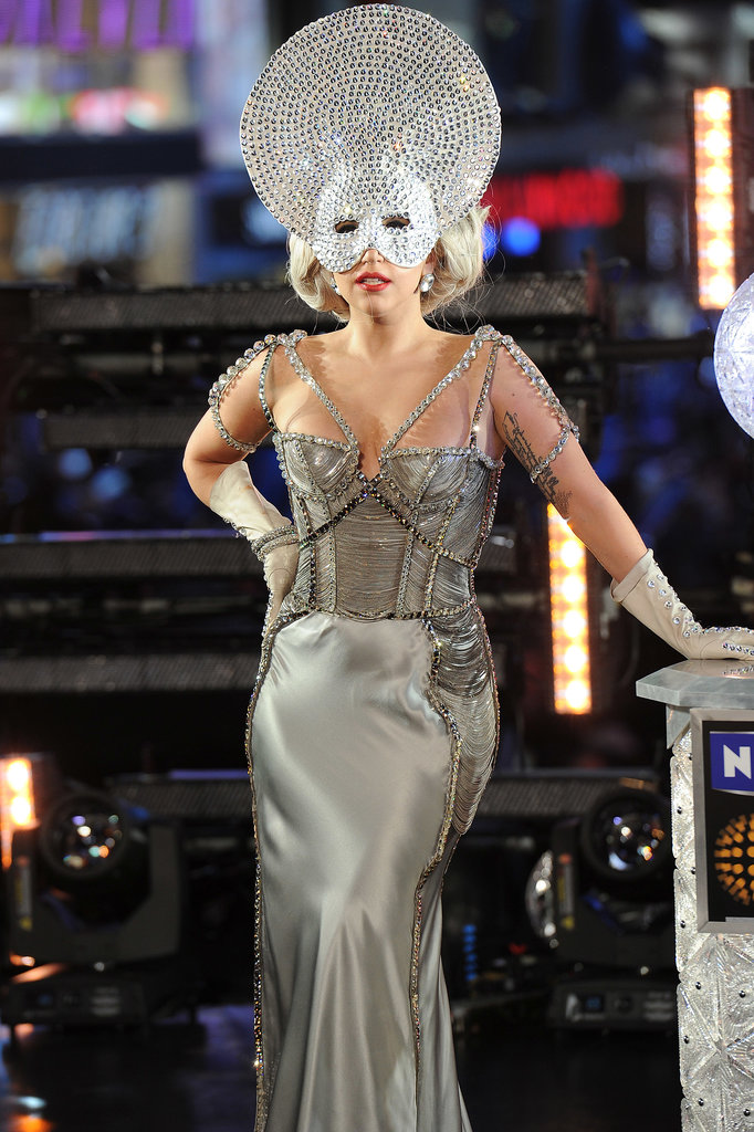 Gaga shimmered as much as the ball that dropped in Times Square when she rung in 2012.