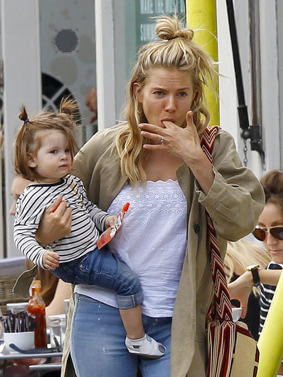 Sienna Miller's daughter, Marlowe, wore her hair in pigtail buns.