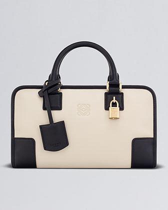 Loewe Amazona 28 Leather Bag, Stone/Black