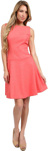 Phoebe Couture Drop Waist Jacquard Dress in Coral