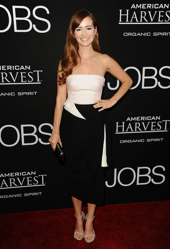 To fete the Jobs premiere in Los Angeles, Ahna O'Reilly paired a pale pink bustier with a black-and-white skirt.