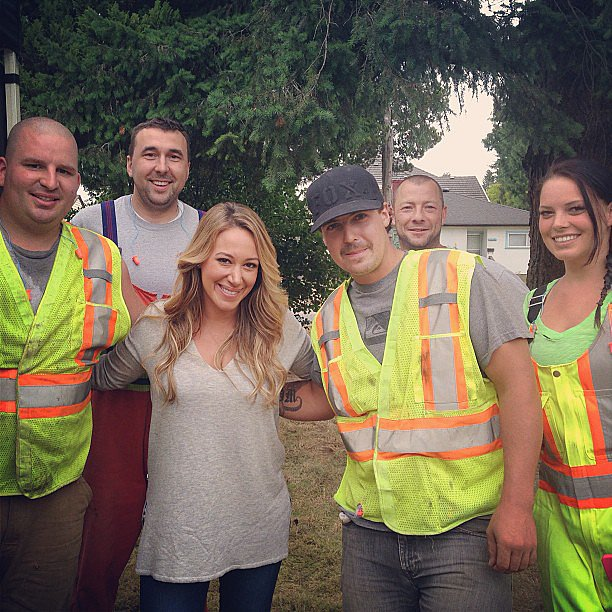 """Haylie Duff posed with some of the """"great people of Vancouver"""" during a recent shoot in Canada. Source: Instagram user haylieduff"""