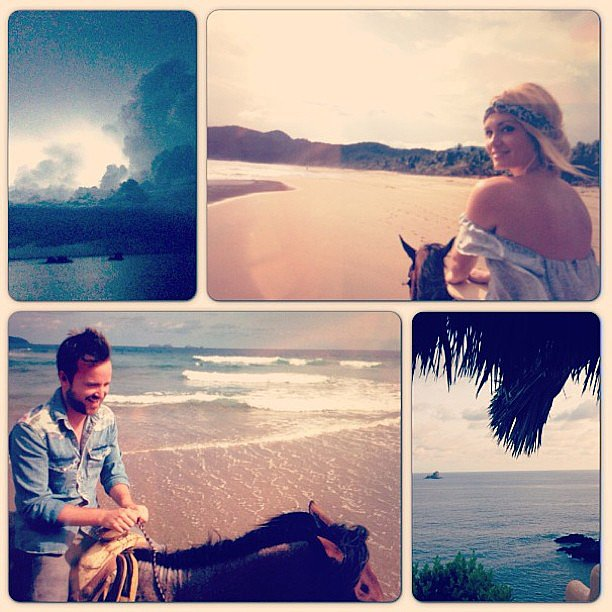 Aaron Paul and his wife, Lauren Parsekian, took a romantic horseback ride on the beach in Mexico. Source: Instagram user glassofwhiskey