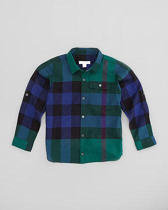 Burberry Boys' Herringbone Check Shirt, Forest Green, 4-10Y