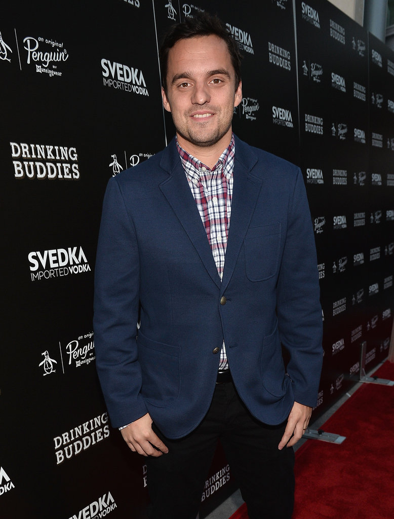 Drinking Buddies star Jake Johnson posed on the red carpet at the film's LA premiere.