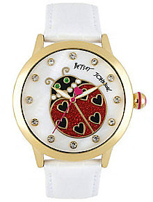 Betsey Johnson® Goldtone Lady Bug Graphic Dial and White Leather Strap Watch