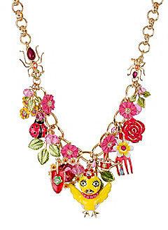 Betsey Johnson® Yellow Chickadee & Flower Frontal Necklace