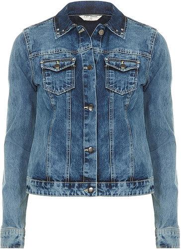 Veste en jean à délavage moyen et strass