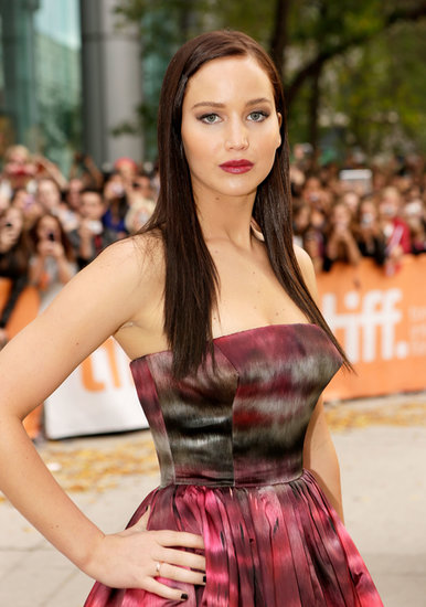 This dark chocolate-brown hair color, which Jennifer wore at the 2012 International Film Festival, is at the opposite end of the spectrum from Jennifer's usual blond shade. But when paired with a plum lip and black nail polish, it gives the young actress an air of edge.