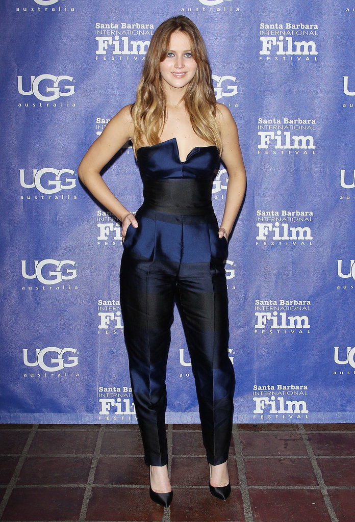 How fabulous does Jennifer Lawrence look in blue? We love how she edged things up a bit in this blue-and-black jumpsuit — extra points for the pleats.