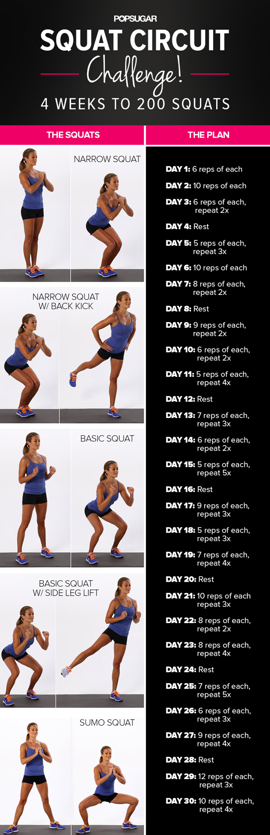 Print It, Do It: 30-Day Squat Challenge | POPSUGAR Fitness UK