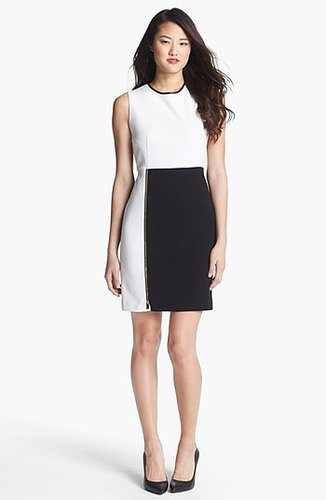 Vince Camuto Front Zip Colorblock Sheath Dress (Regular & Petite) Light Cream 2P