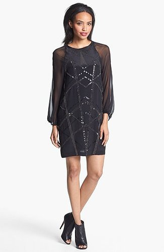 Nicole Miller 'Tartanian' Bead Patterned Silk Dress