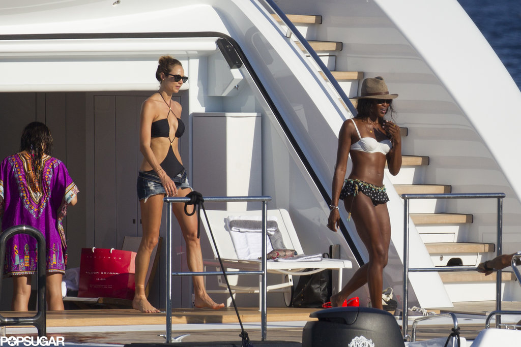 Naomi Campbell and Stacy Keibler walked around a yacht together.