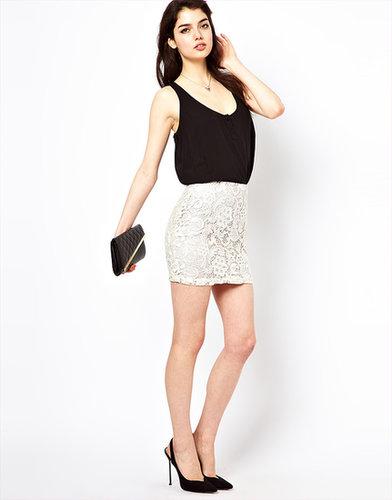 Lipsy Waxed Lace Skirt