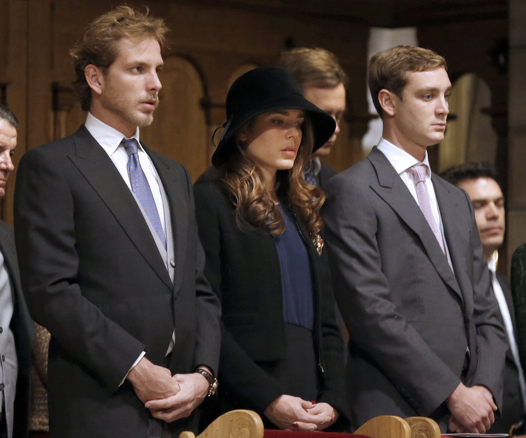 Andrea, Charlotte and Pierre Casiraghi stood in the cathedral for a mass during celebrations marking Monaco's National Day on Nov. 19, 2012.