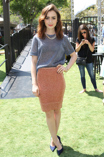 We've loved watching what Lily Collins pulls out for stops along her The Mortal Instruments: City of Bones tour. This casual combo shined, literally, at a daytime event in California.