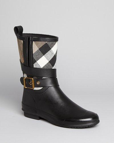Burberry Rain Boots - Holloway Mid Buckle Check