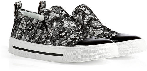 Marc by Marc Jacobs Leather/Lace Slip-Ons in Black/White