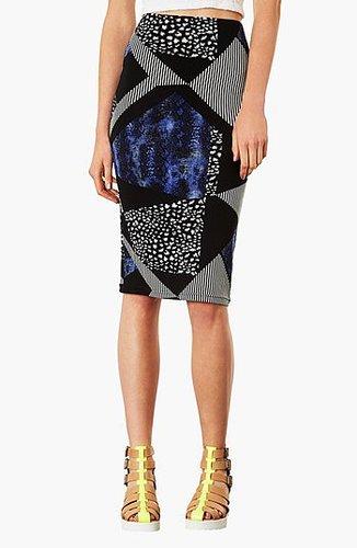 Topshop Mixed Print Tube Skirt Blue 10