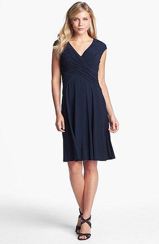 Adrianna Papell Lace Yoke Jersey Fit & Flare Dress (Regular & Petite) Eclipse 10