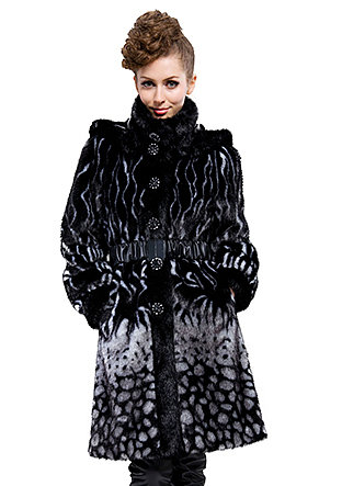 good quality black faux fur with faux beaver fur collar long coat free shipping