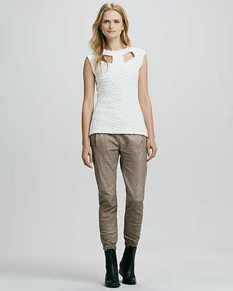 Alexis Cober Leather Track Pants