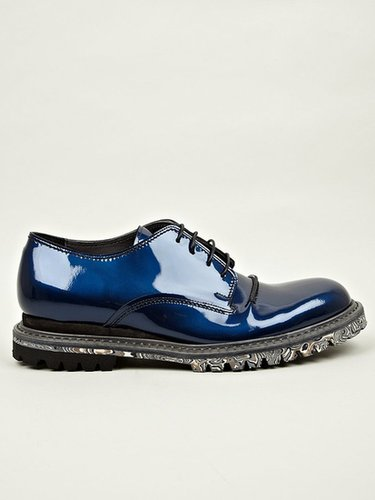 Lanvin Men's Iridescent and Rubber-Effect Derby Shoes