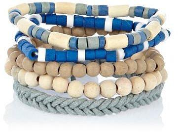 Ecru and blue woven bracelet pack