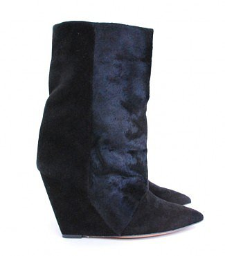 ISABEL MARANT BLACK LAZIO CALF HAIR AND SUEDE WEDGE BOOTS