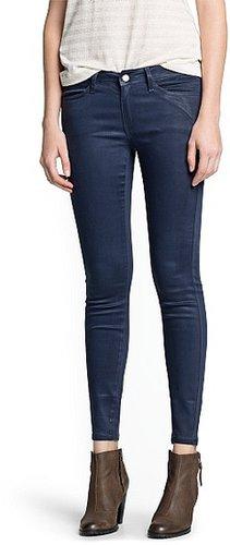 Super slim-fit coated blue jeans